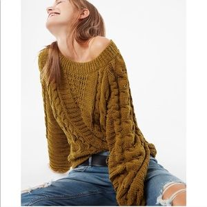 NEW Express Boatneck Chenille Sweater in Fern
